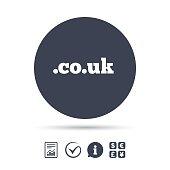 Domain CO.UK sign icon. UK internet subdomain.