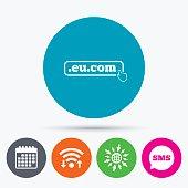 Domain EU.COM sign icon. Internet subdomain