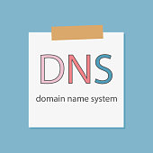 DNS Domain Name System written in a notebook paper