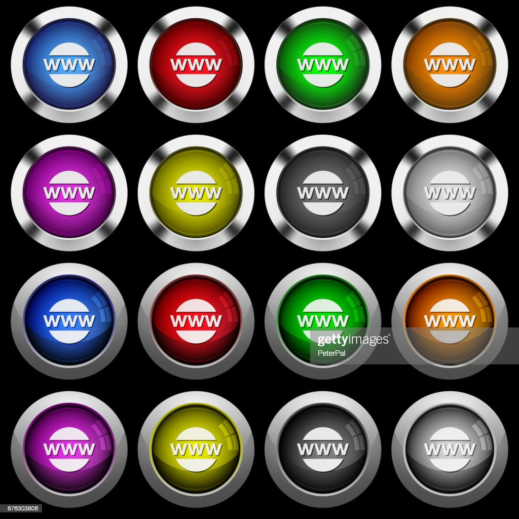 Domain name white icons in round glossy buttons on black background
