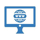 Domain registration icon / blue color
