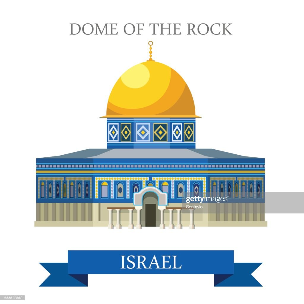 Dome of the Rock in Jerusalem, Israel. Flat cartoon style historic sight showplace attraction web site vector illustration. World countries cities vacation travel sightseeing Asia collection.