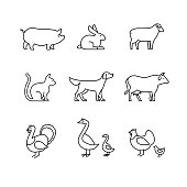 Domestic and farm animals thin line art icons set