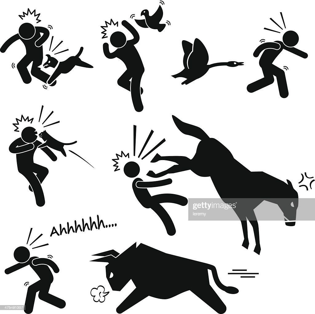 Domestic Animal Attacking Hurting Human Stick Figure Pictogram Icon