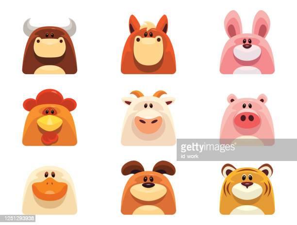 ilustraciones, imágenes clip art, dibujos animados e iconos de stock de iconos de animales domésticos - toro animal