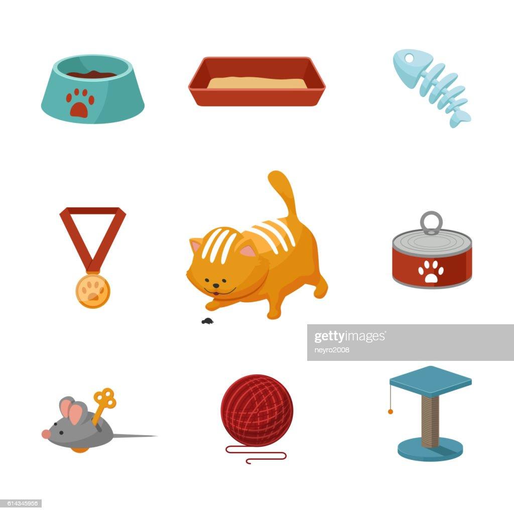 Domestic cat cartoon icons vector set