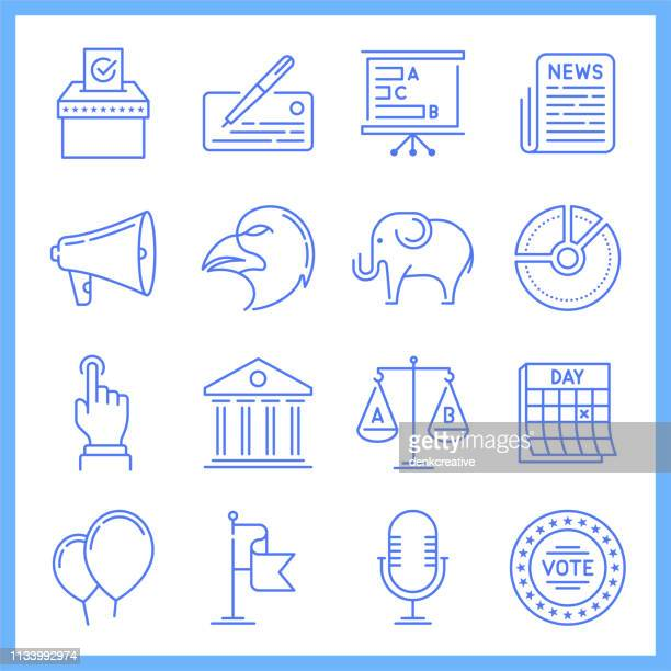 Domestic Politics Blueprint Style Vector Icon Set