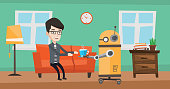 Domestic robot brings cup of coffee to his owner