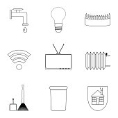 Domestic services icon lineart set
