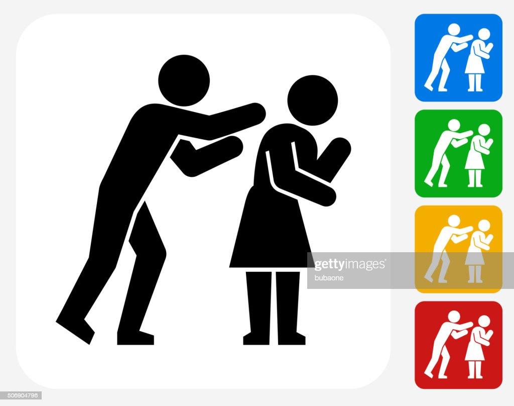 Domestic Violence Icon Flat Graphic Design