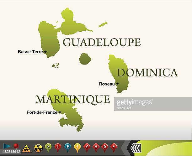 dominica, guadeloupe and martinique maps with navigation icons - french overseas territory stock illustrations