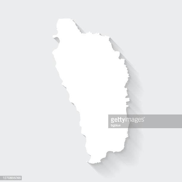 dominica map with long shadow on blank background - flat design - dominica stock illustrations