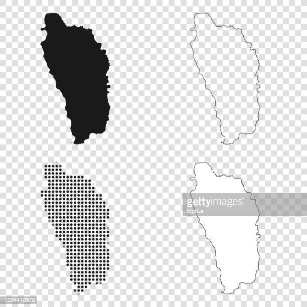 dominica maps for design - black, outline, mosaic and white - dominica stock illustrations