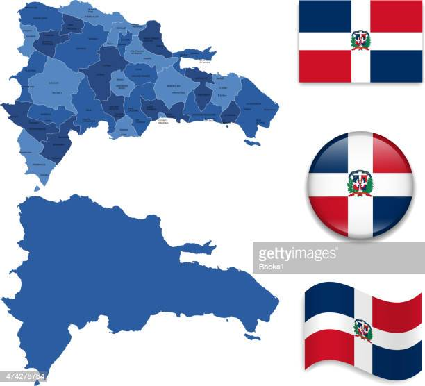 dominican republic map and flag collection - dominican republic flag stock illustrations