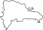 Dominican Republic map of black contour curves of vector illustration