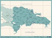 Dominican Republic Map - Vintage Detailed Vector Illustration