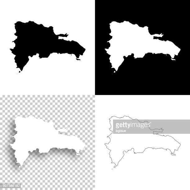 dominican republic maps for design - blank, white and black backgrounds - dominican republic stock illustrations
