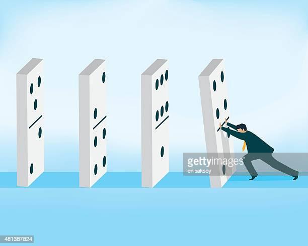 domino effect, businessman pushing domino piece - domino effect stock illustrations