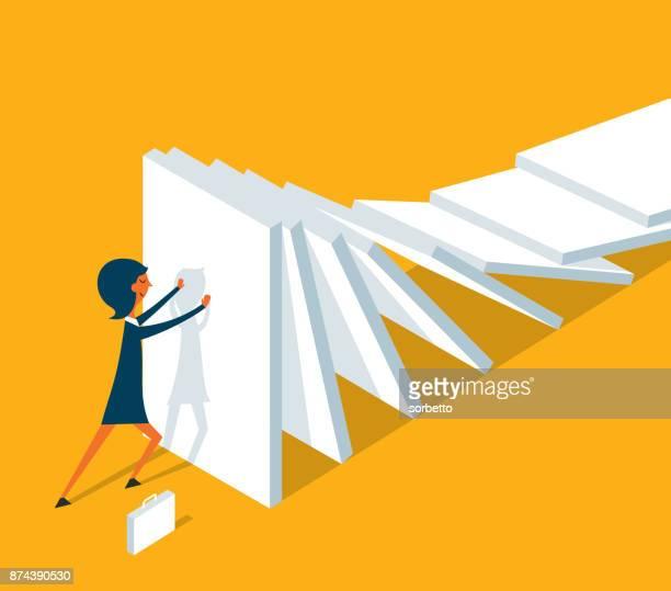 domino effect - businesswoman - domino effect stock illustrations
