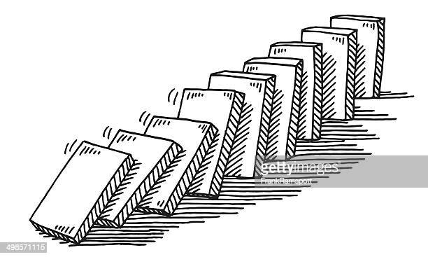 domino effect drawing - domino effect stock illustrations