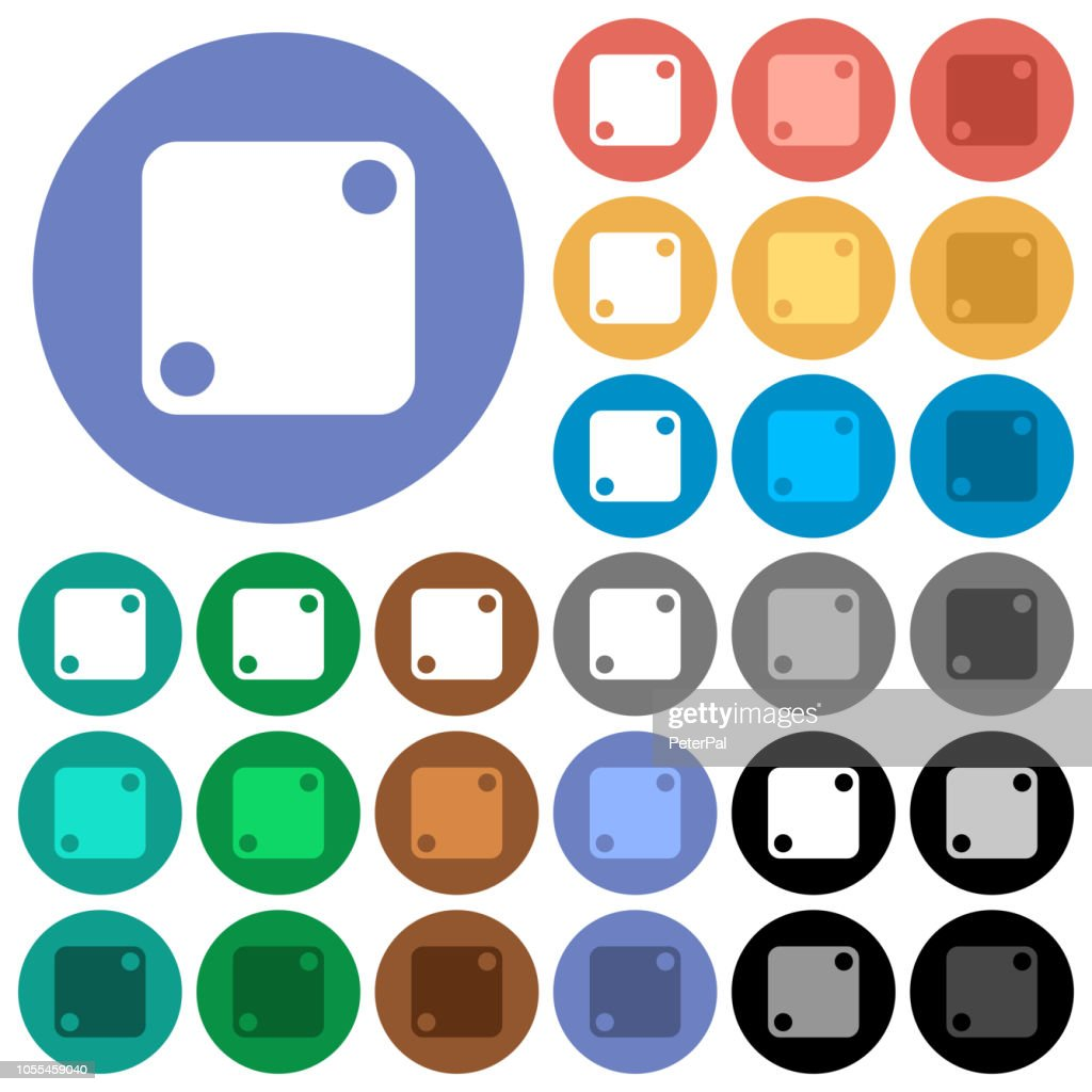 Domino two round flat multi colored icons