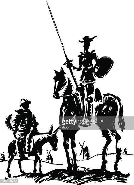 don quixote - cavalier cavalry stock illustrations, clip art, cartoons, & icons