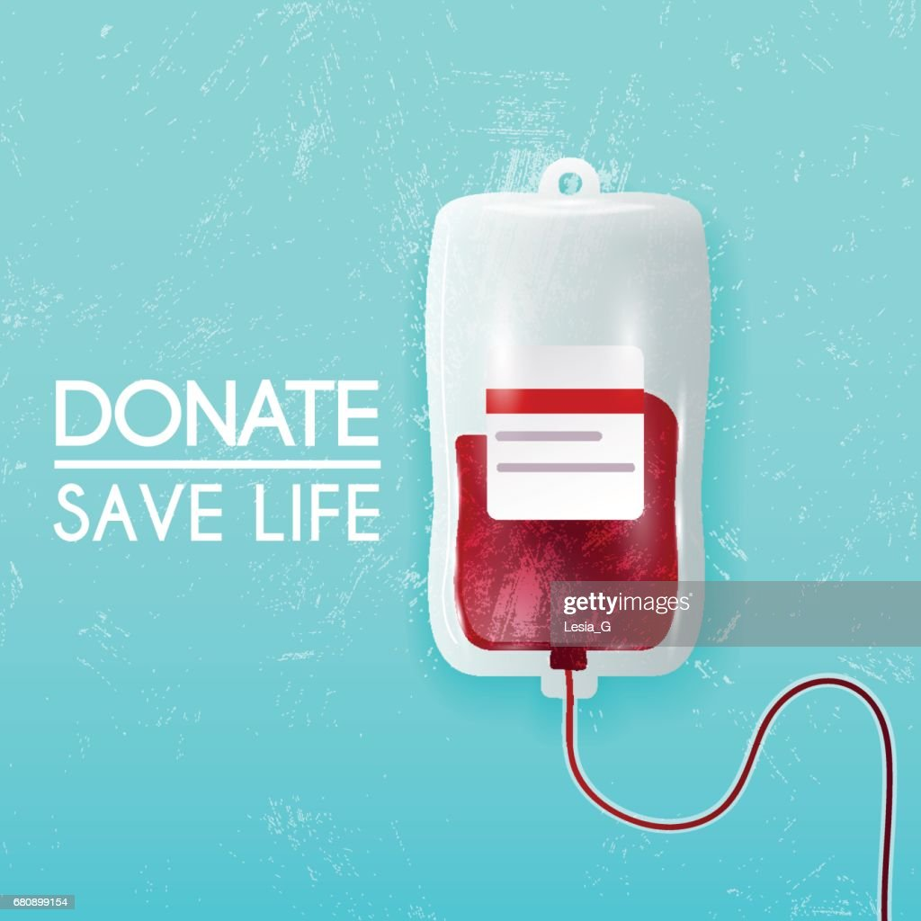 Donate blood bag on blue background. Vector 3d illustration.