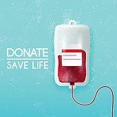 Donate blood bag on blue background. Vector 3d illustration.