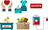 Donate help symbols vector illustration