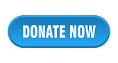donate now button. donate now rounded blue sign. donate now