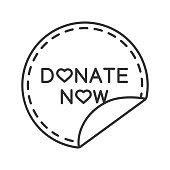 Donate now round sticker icon