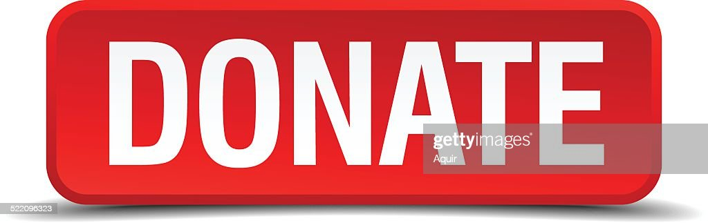 Donate red 3d square button isolated on white background