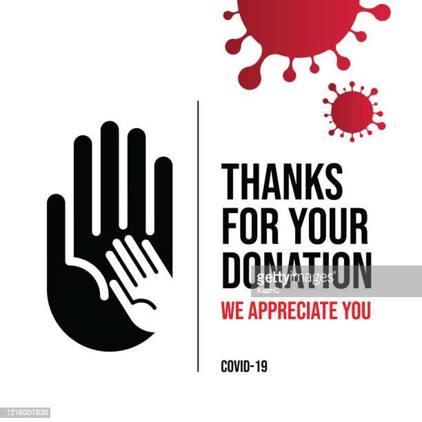 illustrazioni stock, clip art, cartoni animati e icone di tendenza di concetto di donazione per covid-19 o illustrazione stock coronavirus - donazione