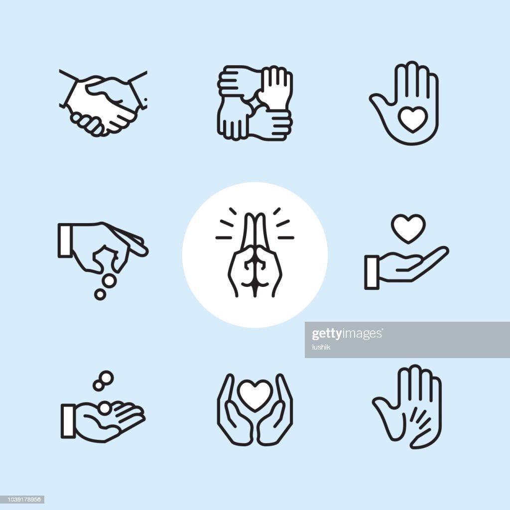Donatie gebaar - overzicht pictogramserie : Stockillustraties