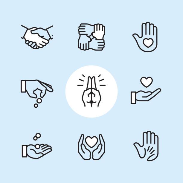 donation gesture - outline icon set - heart shape stock illustrations