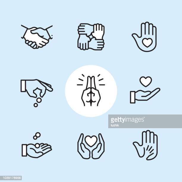 donation gesture - outline icon set - heart symbol stock illustrations
