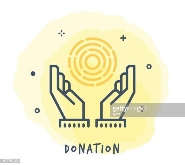 ilustraciones, imágenes clip art, dibujos animados e iconos de stock de icono de línea de donación - eutanasia