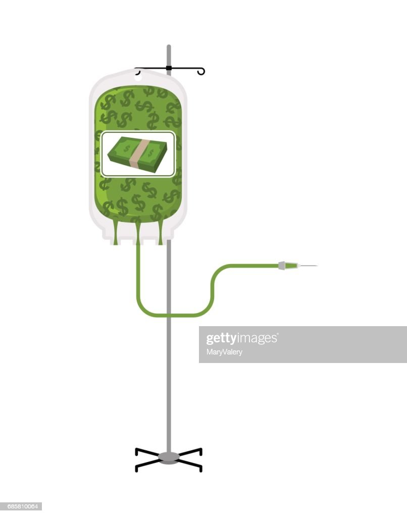 Donation money bag on Drip stand. Transfusion of cash finances. Business illustration