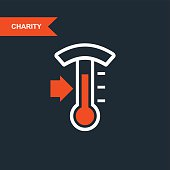 Donation thermometer - charity and telethon icon