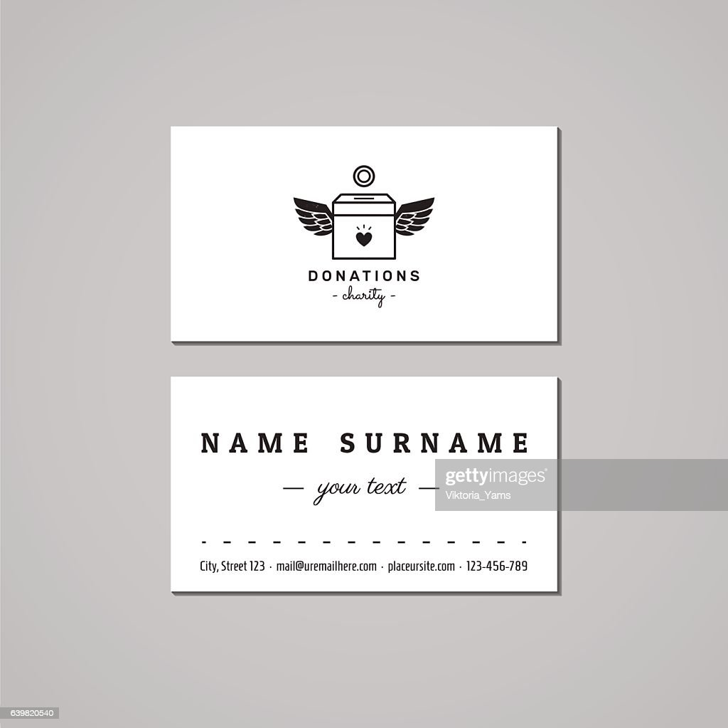 Donations And Charity Business Card Design Donation Box Logo Vector ...