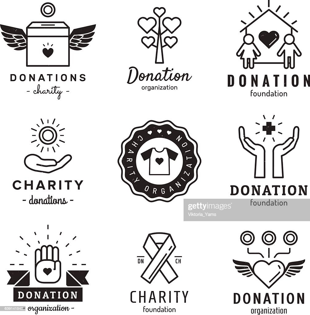 Donations and charity logo vintage vector set. Part two.