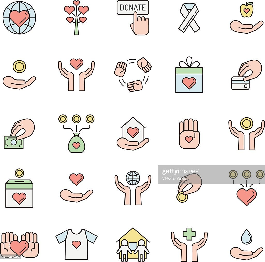 Donations and charity multicolored outline icon set. Simple outline design.