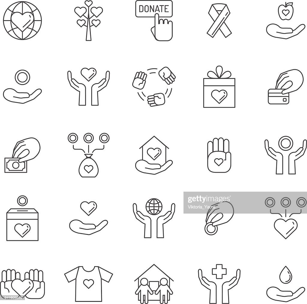 Donations and charity outline icon set. Simple outline design.