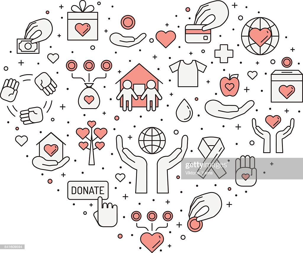 Donations and charity (red and gray) simple outline heart illustration.