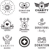 Donations and charity vintage hipster vector set.