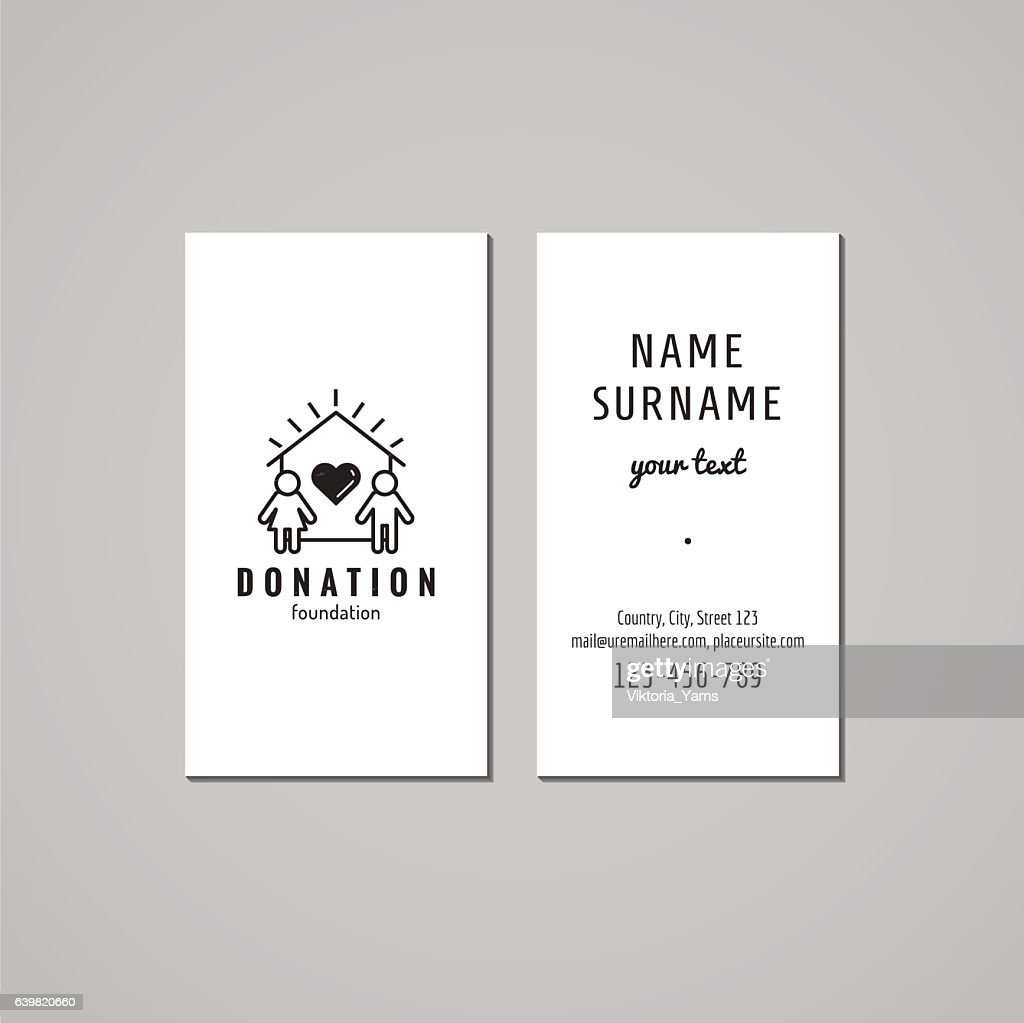 Donations Charity Business Card Design House And Family Logo Vector ...