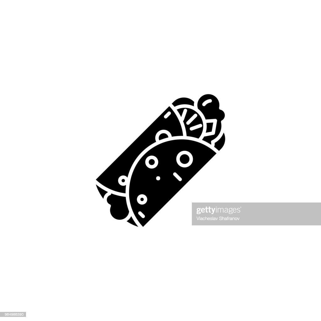 Doner kebab black icon concept. Doner kebab flat  vector symbol, sign, illustration.