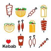 Doner kebab vector icons, kebab in wrap or pita bread, shish and adana kebab skewers design set