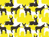 Donkey American Mammoth Cartoon Seamless Wallpaper