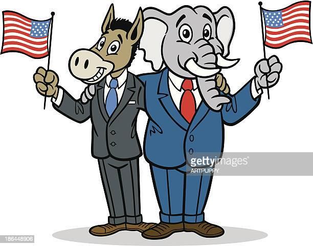 donkey and elephant cartoon - us republican party stock illustrations, clip art, cartoons, & icons